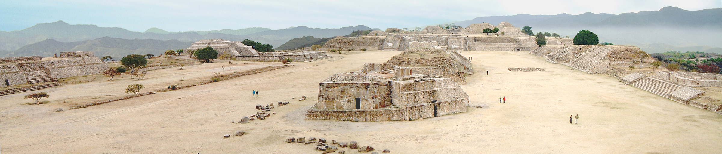 Monte Alban's main plaza looking north, with the Observatory, Building J, centre shot