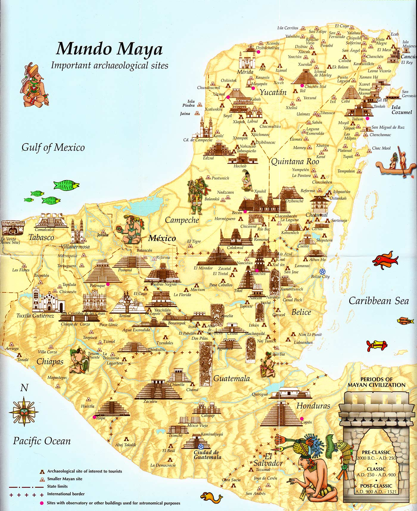 Tourist map of Mayan Cities & Archaeological Sites | Uncovered History