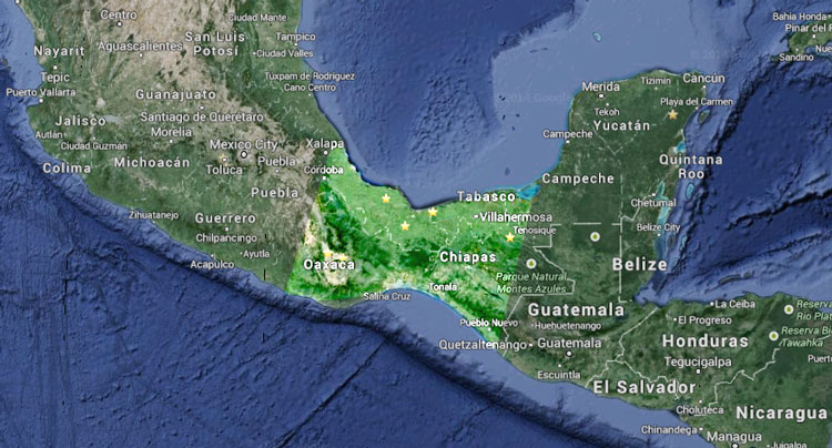 A satellite image highlighting the isthmus of Mexico