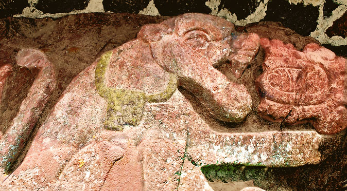 Highlighted Jaguar Carving at Teotenango