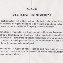 Flyer for Malinalco in 2001
