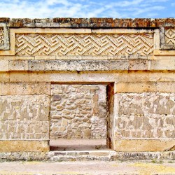 "Geometric Designs around a doorway in Building 1, Mitla, which are known as ""step-fret"" designs"