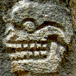 Close up of a skull from the Tzompantli at Chichen Itza