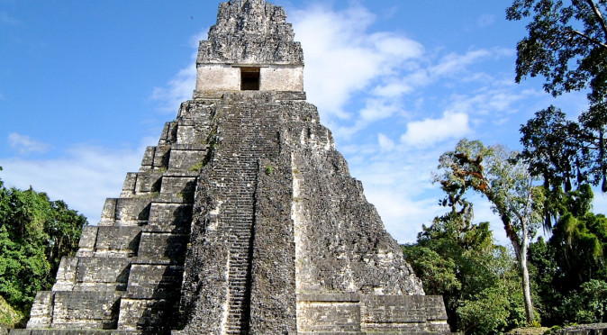 View of Templo I at Tikal from the main plaza