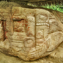 Left side of Zoomorfo B at Quirigua