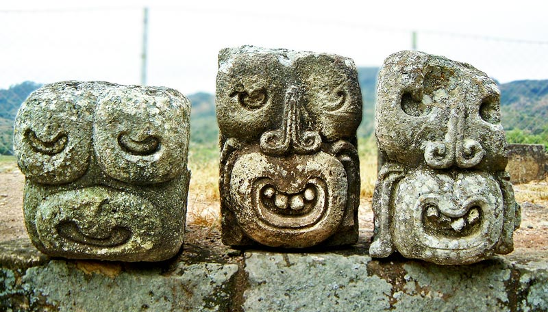 Faces in East Court at Copan