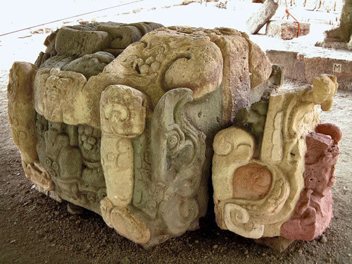 A coloured version of Altar M at Copan