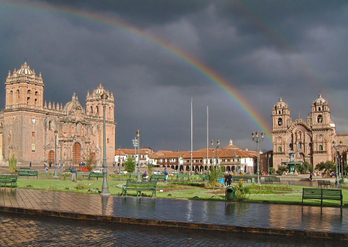 Rainbow Over the Plaza De Armas in Cusco