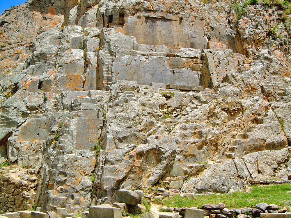 Carved Wall in the Incamisana Sanctuary at Ollantaytambo