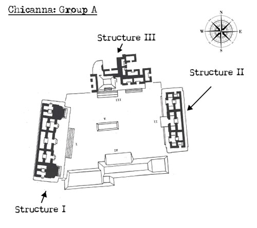 Map of Group A at Chicanna showing the triadic arrangement of its temples