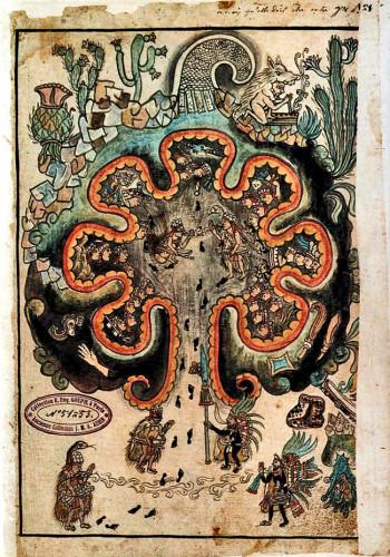 A picture of Chicomoztoc from the Historia Tolteca-Chichimeca