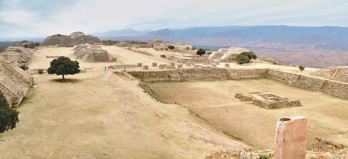Monte Alban - Looking South along the main plaza