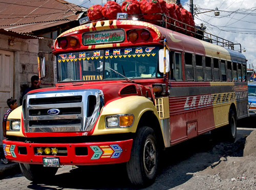 Guatemalan bus to Lake Atitlan