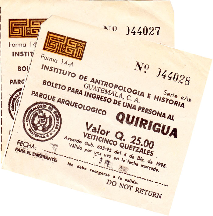 Tickets for Quirigua from 2002