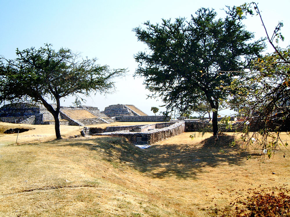 Looking South East along the East Court at Xochicalco