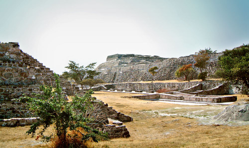 Looking South West along the East Court at Xochicalco