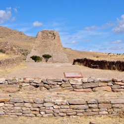 Ballcourt and Votive Pyramid at La Quemada