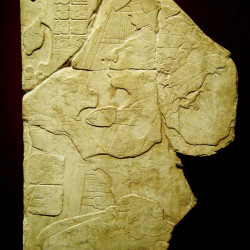 A Mayan Stele of a Lord offering a cocoa plant
