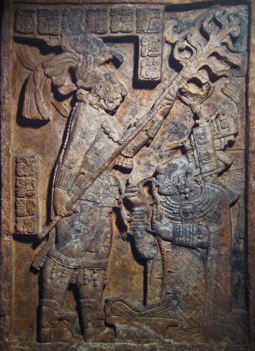 Bloodletting sacrifice on Lintel 24, Structure 23 at Yaxchilan