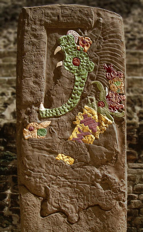 Stela 9 at Lamanai Coloured
