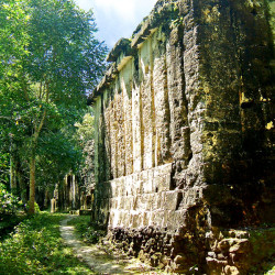 A view of the rear of the Acanaladuras Palace at Tikal
