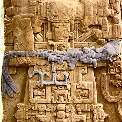 Close up of the sceptre of Stela D at Quirigua
