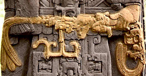 Close up of the sceptre in Stela D at Quirigua