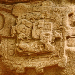 A close up of a glyph on the front of Soomorph P at Quirigua