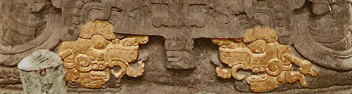 A close up of Jade Sky's heels on Stele K at Quirigua