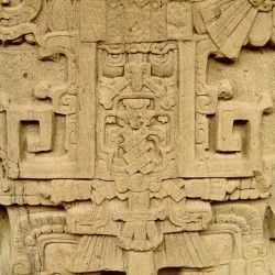 A close-up of the front of Stela K at Quirigua