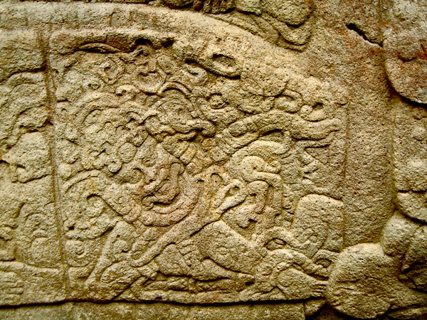 Close-Up of Left Glyph on Zoomorfo B at Quirigua