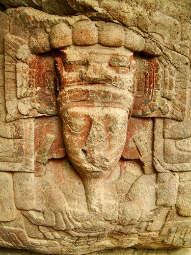 Face of Cauac Sky from Zoomorph B at Quirigua
