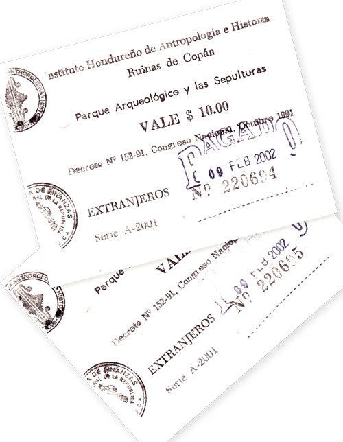 Copan Tickets from 2002