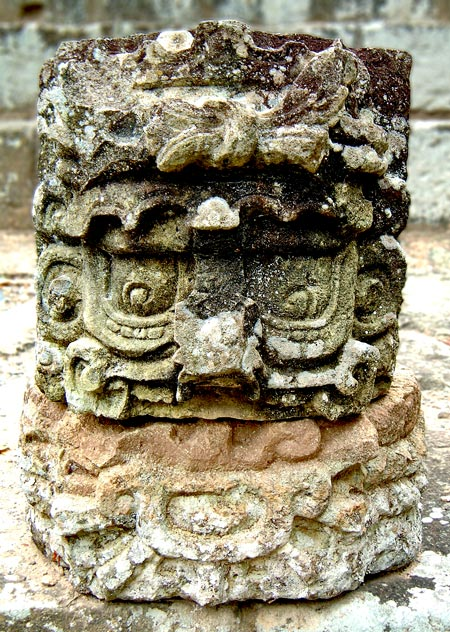 Stone Head in East Court at Copan