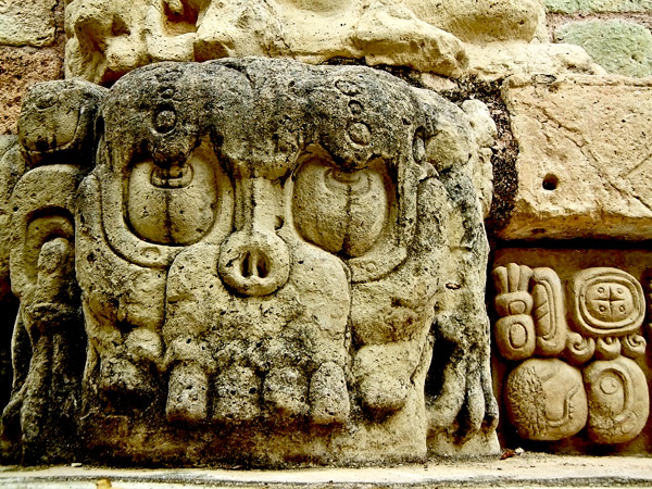 Skull from Doorway of Templo 22 at Copan