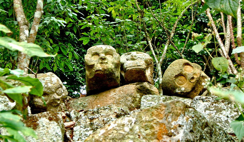 Carved Skulls Near Structure 7 at Copan