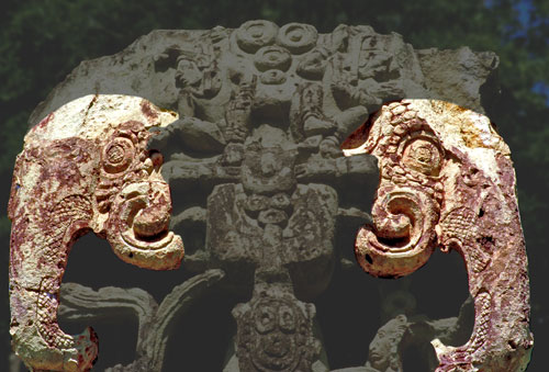Elephants on Top of Stela B at Copan