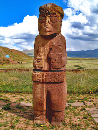 the statue or stela el fraile at Tiwanaku
